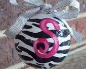 Hand Painted Girl's Zebra Stripe Christmas Ornament...Monogrammed...Initial...Kid's Room...Children's Room...Holiday...Seasonal