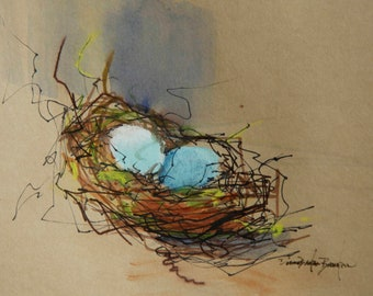 Nest with two blue eggs