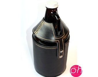 Beer Growler Leather Cozy - Black Leather