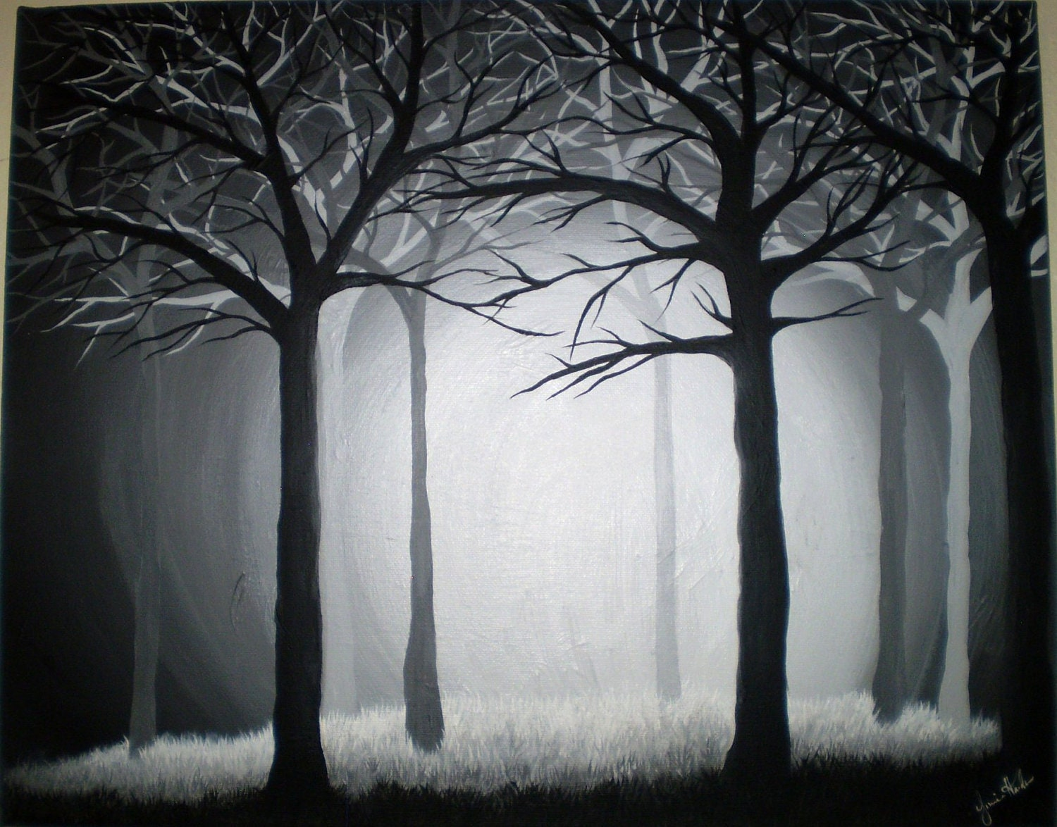 Dark forest 16x20 original acrylic painting for Painting a forest in acrylics