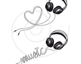 Music love, headphone with heart, digital clip art, clipart, head phone silhouette, DJ, disco, illustration, vector, instant download