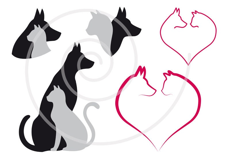 Cat And Dog Digital Clip Art Set Pet Animal Clipart Heart
