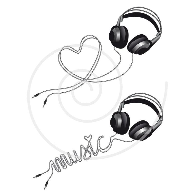 music love headphone with heart digital clip art clipart. Black Bedroom Furniture Sets. Home Design Ideas
