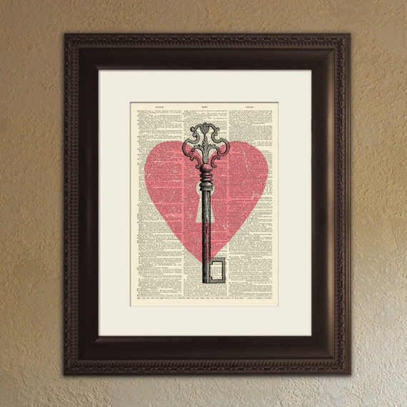 You're The Key To My Heart - True Love Dictionary Page Book Art Print - DPTL002