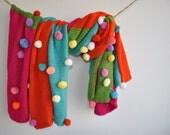 13-Colourful, bobble afghan.