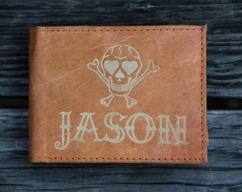 Personalized Leather Wallet - Skull
