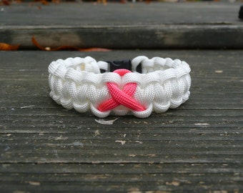 Breast Cancer Awareness Paracord Bracelet White