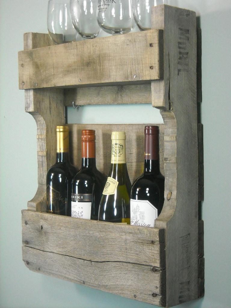 Small Pallet Wine Rack Rustic Shelf By MyBrothersBarn