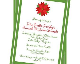 Printable Christmas Poinsettia Invitation