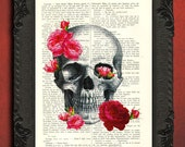 Skull art print, skull dictionary art print, skull pink roses decor