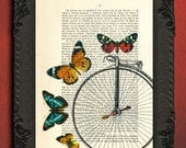 Bicycle art, butterflies bicycle, bike art print, upcycled french book page art print, vintage butterflies home decor