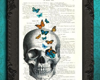 Skull art print, skull poster, skull artwork, skull collage, skull wall art dictionary art print skull with butterflies