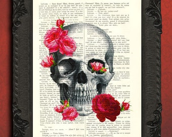 Skull art print, skull dictionary art print, skull pink roses decor