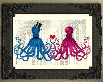 Octopus Couple Print - octopus love - Octopus Wall Art - sealife art - octopus dictionary art print