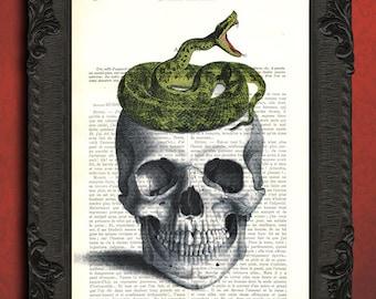 human skull snake art print, upcycled skull decor, vintage dictionary print, skull collage, skull wall decor, gothic home decor