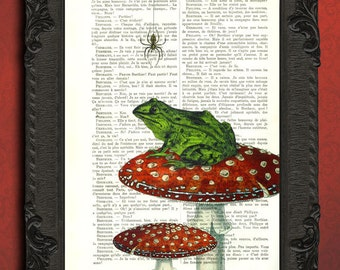 Frog on a toadstool art print green frog illustration red toadstool print