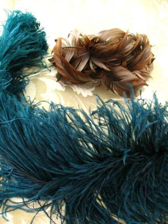 Lot Vintage Victorian Millinery Feathers Ostrich Plume
