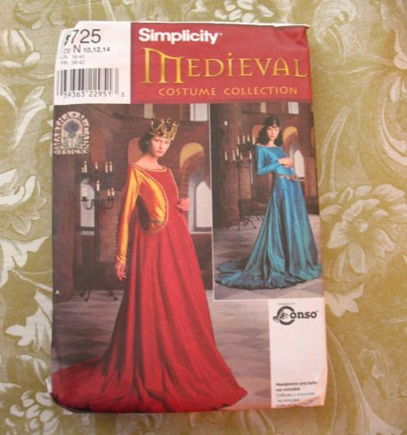 Simplicity 8725 Sewing Pattern Medieval Costume Dress Surcote 10 12 14