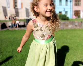 Girls green dress D13 Swarovski crystals flower girl dress linen special occasion