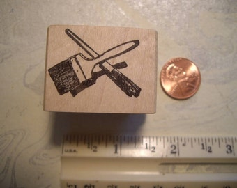 paint brush artist brush rubber stamp un-mounted or wood mounted scrapbooking rubber stamping