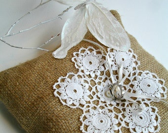 Ring Bearer Pillow with Burlap and  Handcrocheted  Vintage Doily  And Pearls, Upcycled, Altered art, ecofriendly