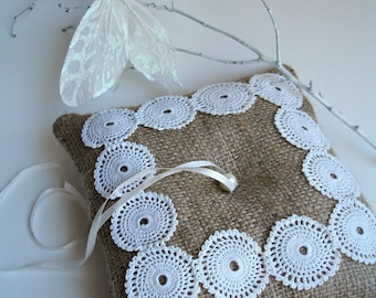 Ringbearer Pillow with Burlap and  Handcrocheted  Vintage Doily