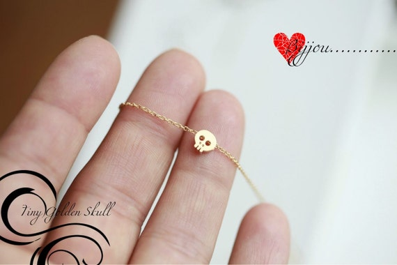 Tiny gold skull necklace -GOLD- Small skull necklace