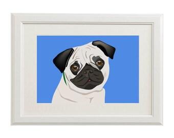 pug illustration dog print pet 8x10