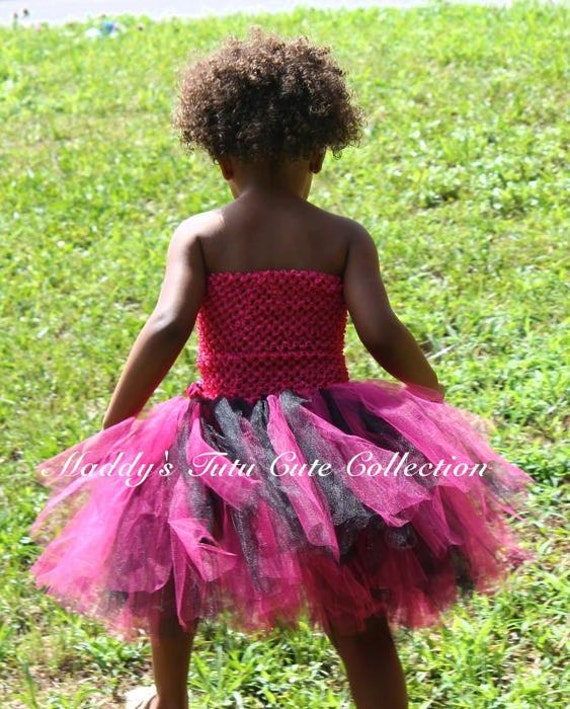 Punk Rock Black and Hot Pink Fluffy Tutu Dress with 2  Zebra Flower cliips for Dress and Hair