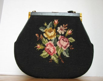 1940s vintage clutch, black with floral Embroidery