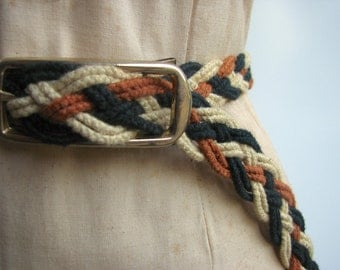 Unisex Vintage Braided Belt / Harvest Earth colored / 35 inch medium small