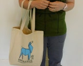 Origami Llama Munching Saplings Tote Bag