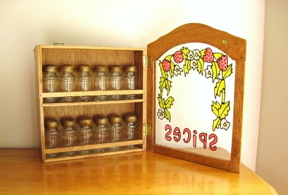 Vintage 1970's Wood Spice Rack, Jay Import Company, Brand New Condition