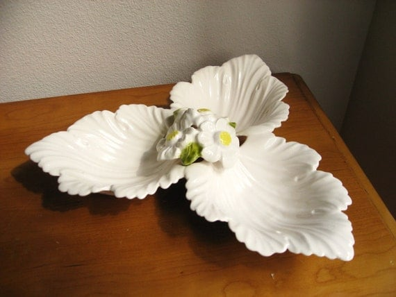 Vintage Serving Dish, Ceramic Floral Divided Serving Dish, Flower Sectioned Nut Dish
