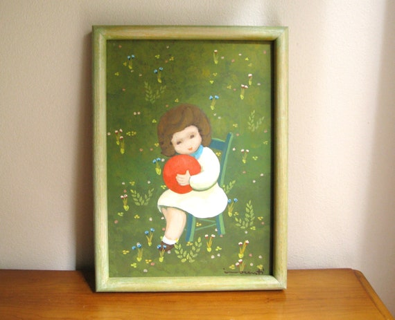 Vintage Little Girl with Red Ball Painting, Colorful Floral Girl Picture