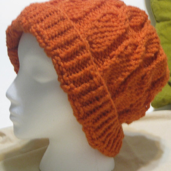 Rustic Orange Twisted Beanie