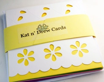 Mini Note Enclosure Cards - Set of 4 Eyelet Yellow Note Cards and Envelopes
