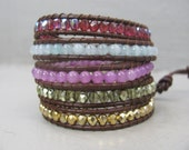 Swarovski Crystal and Agate Mix - beaded wrap leather bracelet,- chan luu inspired - leather beaded wrap bracelet