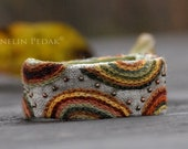 Handmade Bracelet with  embroidery - arch/  100% linen, wool, cotton - size M/L