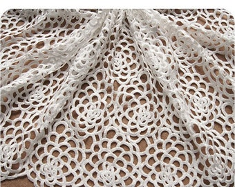 off White Lace Fabrics, venise lace fabric, retro Hollowed Flowers,Costume Lace Supplies, one yard