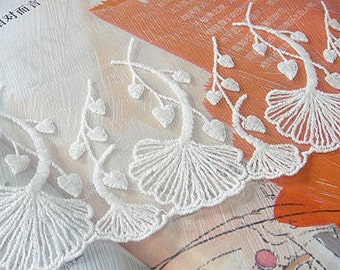 off White Cotton Lace Trim, embroidered Ginkgo Leaves trim lace WSCX039B
