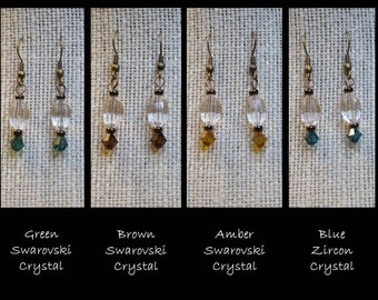 Green/Brown/Amber Swarovski Crystal and Blue Zircon Crystal Earrings - E-004