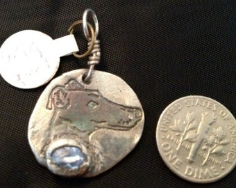 handmade pure silver and spinel greyhound pendant