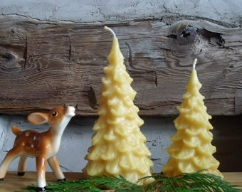 Beeswax Tree Candle, Christmas Tree Candle, small or large ~ natural beeswax ~ evergreen ~ pine ~ woodland decor