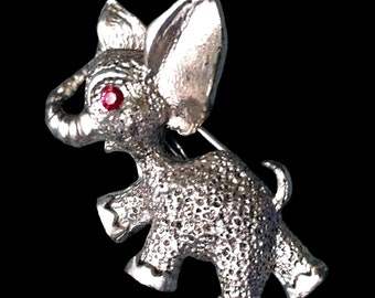 Vintage Silver Elephant Pin Brooch with Red Rhinestone Eye