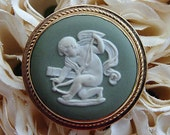 Wedgwood Jasper Ware Light Green Brooch/Pendant
