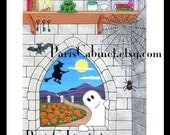 Gothic Window Ghost Scene 8x10 Print with Witch Bat Pumpkin-Patch Frog Lizard Eggs, painting by J. Kohler