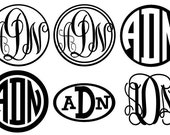 3 Small 3-inch Vinyl Monogram Stickers