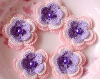 5 Crochet Flowers In Lavender, Off  White, Lt Pink YH-032-08