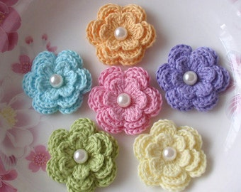 6 Crochet Flowers With Pearls In Aqua, Old Yellow, Lavender,Lt yellow, Green, Pink  YH-011-17